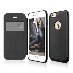 S6 Leather Apple Logo Cutout Flip Case - Black / Black