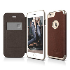 Elago S6+ Leather Apple Logo Cutout Flip Case for iPhone 6/6s Plus - Brown / Champagne Gold