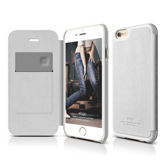 Elago S6+ Leather Flip Case for iPhone 6 Plus ONLY - White / White