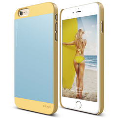 Elago S6+ Outfit Case for iPhone 6/6s Plus - Creamy Yellow / Cotton Candy Blue