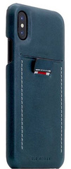 SLG D6 Italian Minerva Box Leather Back Case for iPhone X - Blue