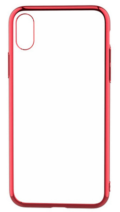 Devia Glitter Soft Case for iPhone Xs - Transparent/Red