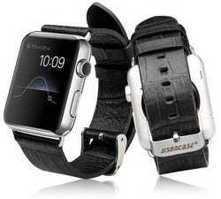 Jison Case Alligator Pattern Genuine Leather Band 38 | 40 mm - Black