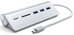 Satechi Type-C Aluminum USB 3.0 Hub & Card Reader - Silver