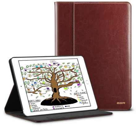 "ESR Leather case with Apple pencil holder for NEW iPad 9.7"" 2017/2018 - Brown"