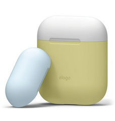 Elago Airpods Duo Silicone Case - White with Pastel Blue/Yellow top