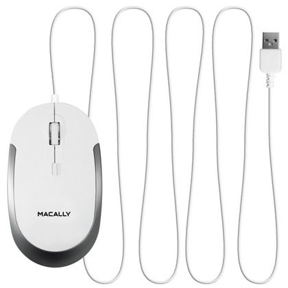 Macally USB Optical Quiet Click Mouse - White/Silver - White/Silver