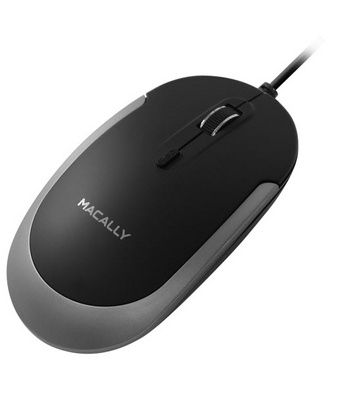 Macally USB Optical Quiet Click Mouse - Space gray/Black