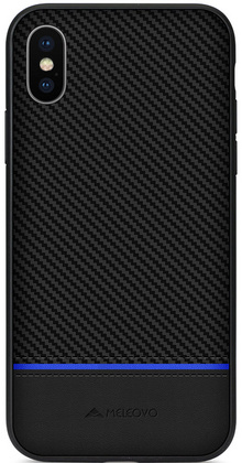Meleovo Stripe I Case for iPhone Xr - Black / Blue Line