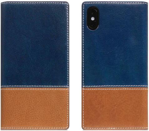 SLG D+ Italian Temponata Flip Case for iPhone X/Xs - Blue/Tan