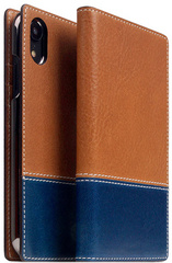 SLG D+ Italian Temponata Flip Case for iPhone Xr - Tan/Blue