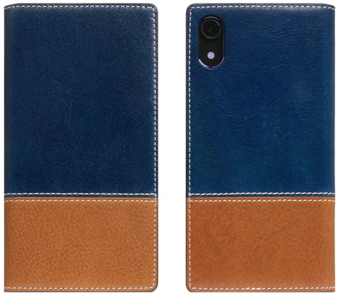 SLG D+ Italian Temponata Flip Case for iPhone Xr - Blue/Tan