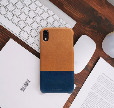 SLG D+ Italian Temponata Clip Case for iPhone Xr - Tan/Blue