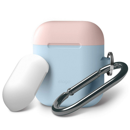 Elago Airpods Silicone Duo Hang Case - Pastel Blue with Pink/White Top