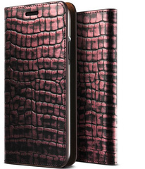 Verus Genuine Croco Diary Series case for iPhone X/Xs - Plum Red