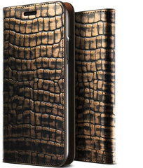 Verus Genuine Croco Diary Series case for iPhone X/Xs - Dark Gold