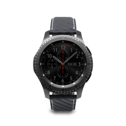D+ Italian Carbon Leather Strap for Gear S3 - Black