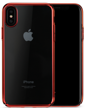 Meleovo Flash Slim Case for iPhone X - Transparent/Red