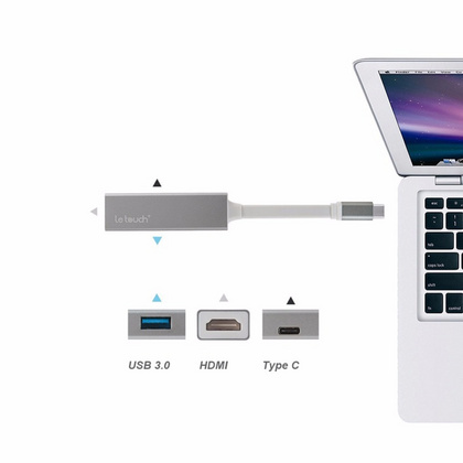 LeTouch USB Type - C Hub to VGA Hub with Power Delivery