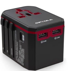 OFIYAA Universal Travel Adapter - Black/Red