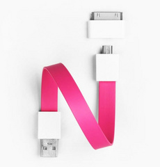 Mohzy Loop Android & Apple USB Cable - Hot Pink