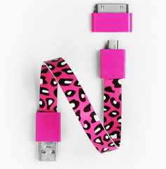 Mohzy Loop Android & Apple USB Cable  - Cherry Leopard