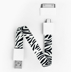 Mohzy Loop Android & Apple USB Cable  - Zebra