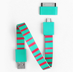 Mohzy Loop Android & Apple USB Cable  - Candy Stripes