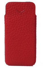 Simena Soft Leather Slim Pouch Case - Red