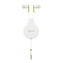Macally Retractable earphones with remote and mic - White