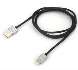 Lightning Flat Cable 1m - Black