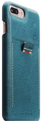 SLG D6 Italian Minerva Box Leather Back Case for iPhone 8 Plus / 7 Plus - Blue