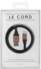 Le Cord Black Leather/Dark Wood - 40 cm