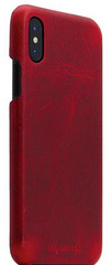SLG D7 Italian Wax Leather Back Case for iPhone X - Red