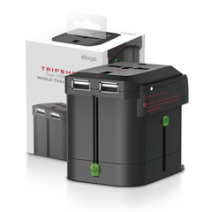 Tripshell World Travel Adapter (Built-in Dual USB) - Black