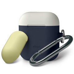 Elago Airpods Silicone Duo Hang Case - Jean Indigo with Creamy White/Yellow Top