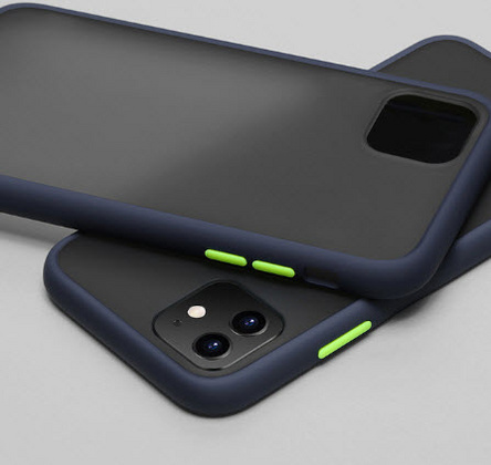 Hybrid case for iPhone 11 - Navy Blue/Yellow buttons