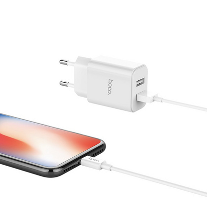 HOCO Dual Port Wall charger with USB-C cable