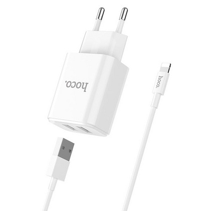 Hoco Dual Port Wall Charger with Lightning Cable