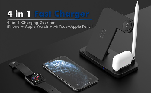 Wireless Multi Charging 4in1 Foldable Stand - Black